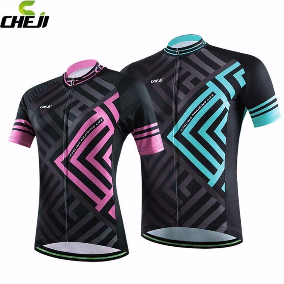 CHEJI Maze Cycling Jerseys Mountain Bike Bicycle MTB Jersey Couple Shirts  Tops 24a4b96ec