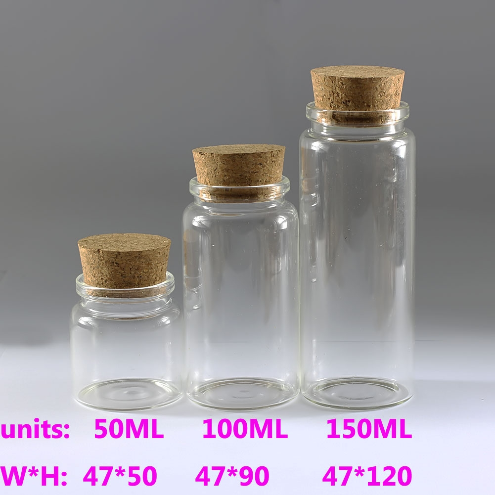 0f39dbcc01a3 Details about 1-10 Pieces 50 100 150ml Clear Empty Glass Bottles With Corks  Small Vials Jars