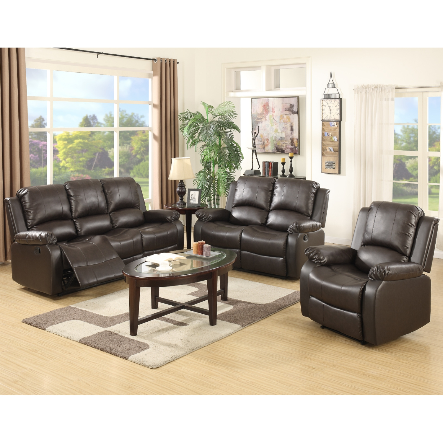 Magnificent Details About 3 2 1 Sofa Set Loveseat Couch Recliner Leather Living Room Furniture Black Andrewgaddart Wooden Chair Designs For Living Room Andrewgaddartcom