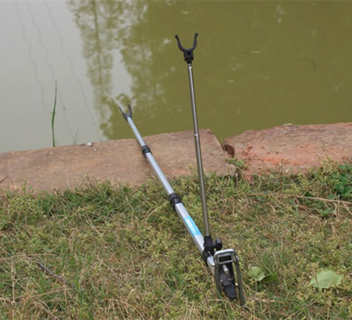 2.1m Telescopic Fishing Rod Double Rest Stainless Steel Rod Ground Holder Stand