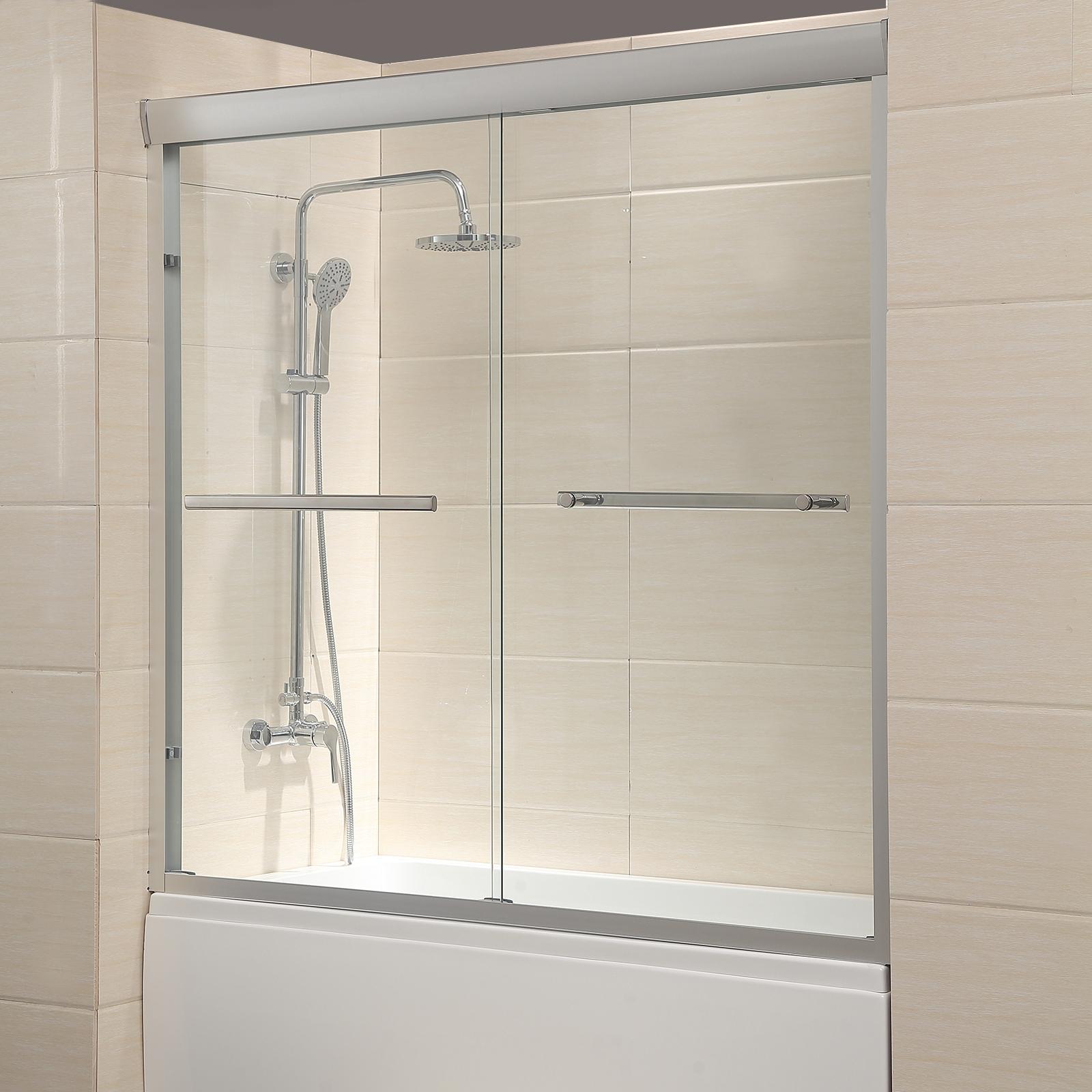 Details About 60 Framed 1 4 Clear Glass 2 Sliding Bath Shower Door Brushed Nickel Finish