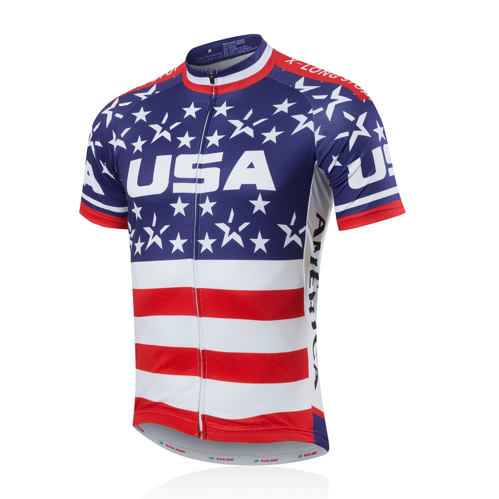 Details about USA Men's Cycling Jersey Full Zip Bike Cycle Jersey Cycling  Team Shirt S-5XL