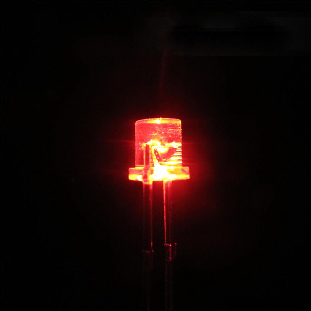 100PCS 5MM 2Pin Flat Top Red LED Wide Angle Flat Head Light Lamp MO