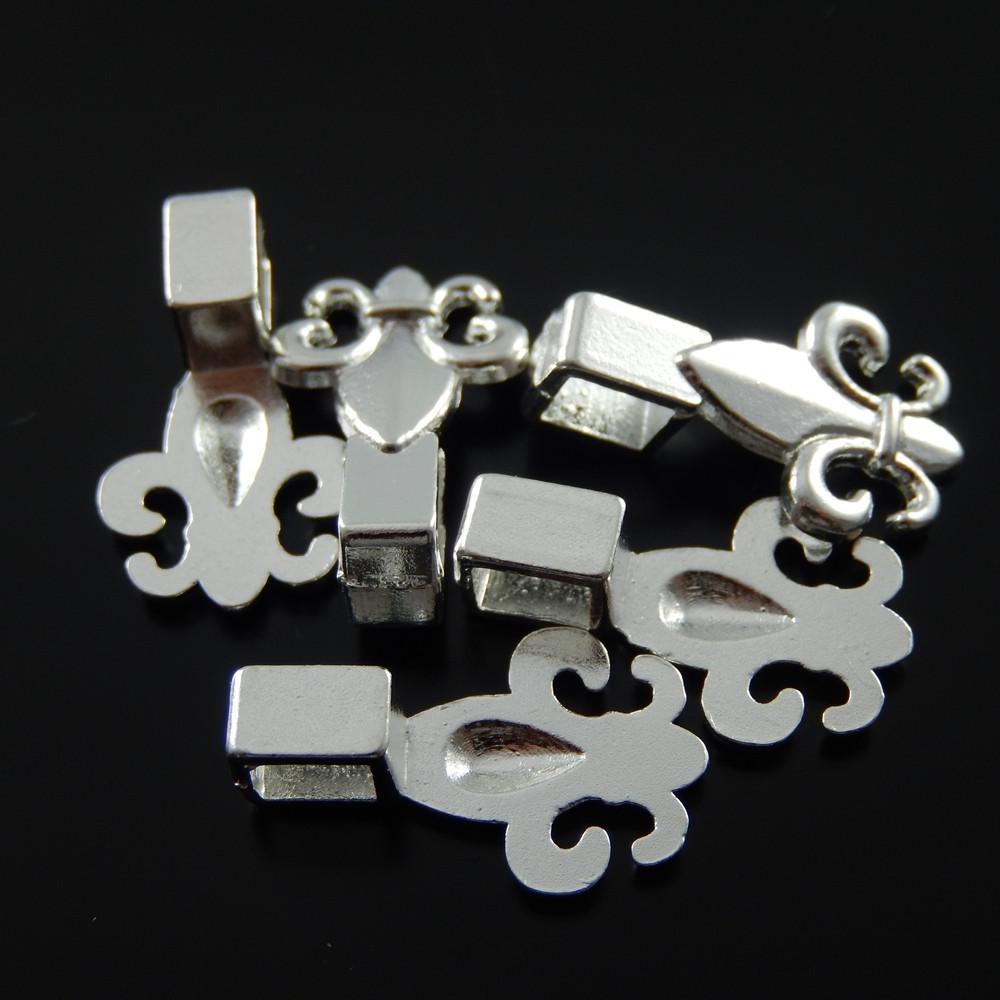 50pcs Alloy Pendants Silver Fleur-de-lis Flower Glue-On Bail Charms Accessories