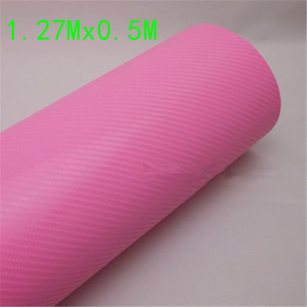 4D Pink Carbon Fiber Textured Bubble Free Air Release Sticker DIY Car Vinyl Wrap