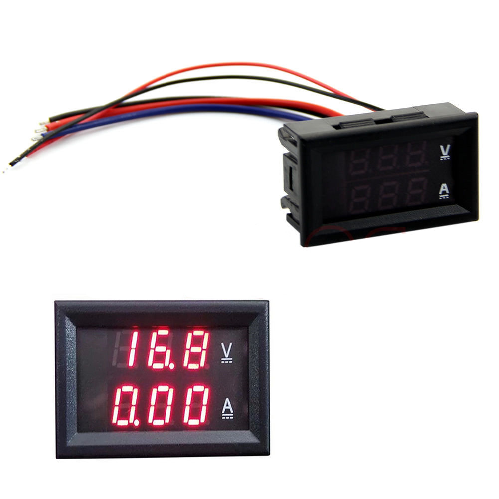 DC100V 10A Voltmeter Ammeter Blue/&Red Red/&Red  LED Digital Volt Meter Gauge M