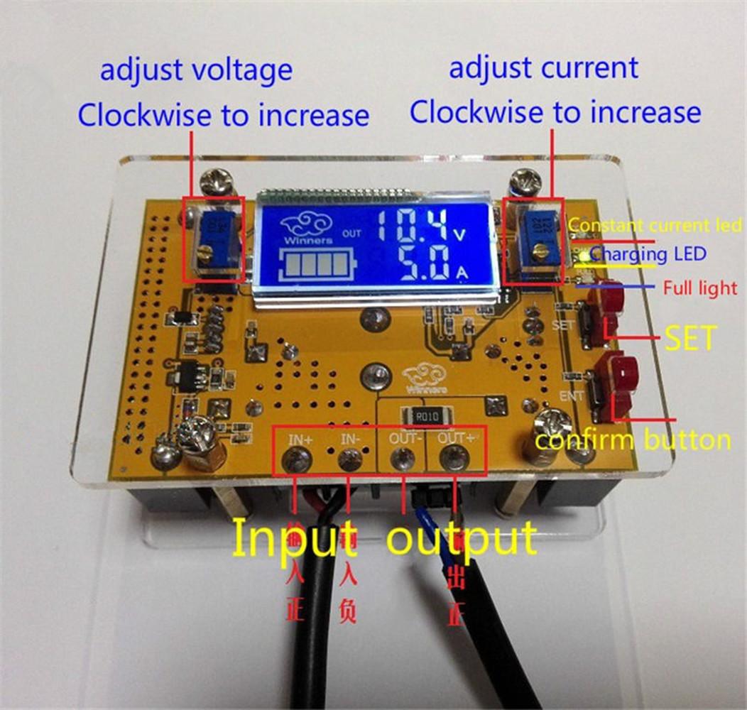 Case 10A DC-DC Adjustable CC CV Step Power Supply Module LCD Dual Display