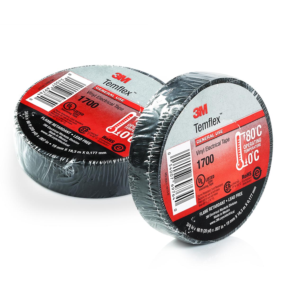 "PREMIUM 1700 3M TEMFLEX BLACK VINYL ELECTRICAL TAPE 3//4/"" X 60/' FLAME RETARDANT"