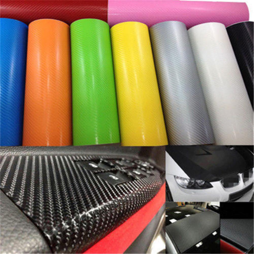 3D Carbon Fiber Vinyl Car Truck Wrap Sheet Film Sticker Decal Roll 13 Colors