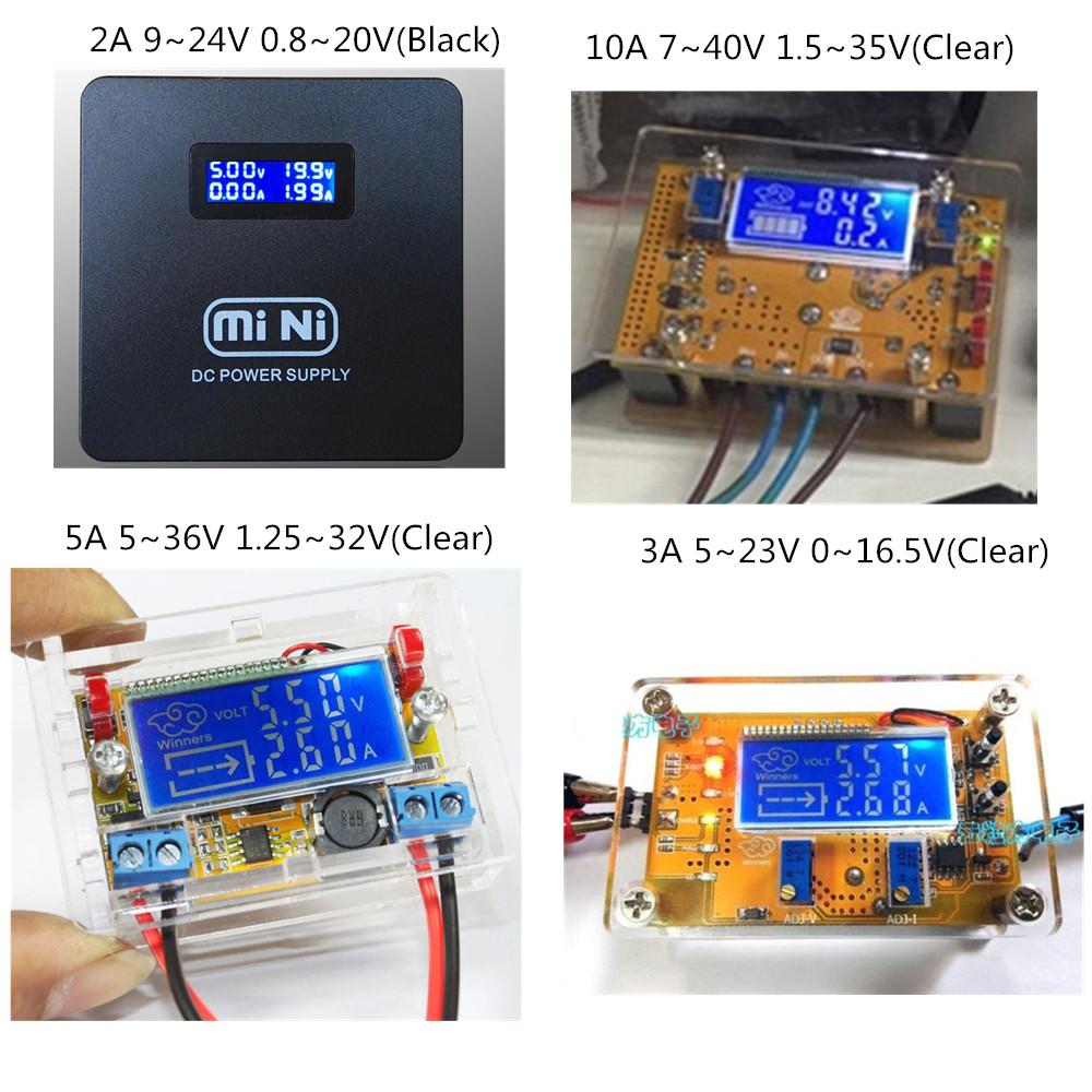 Estuche 2A 3A 5A 10A Ajustable Reductor de voltaje de corriente de la Fuente de alimentación de pantalla LCD