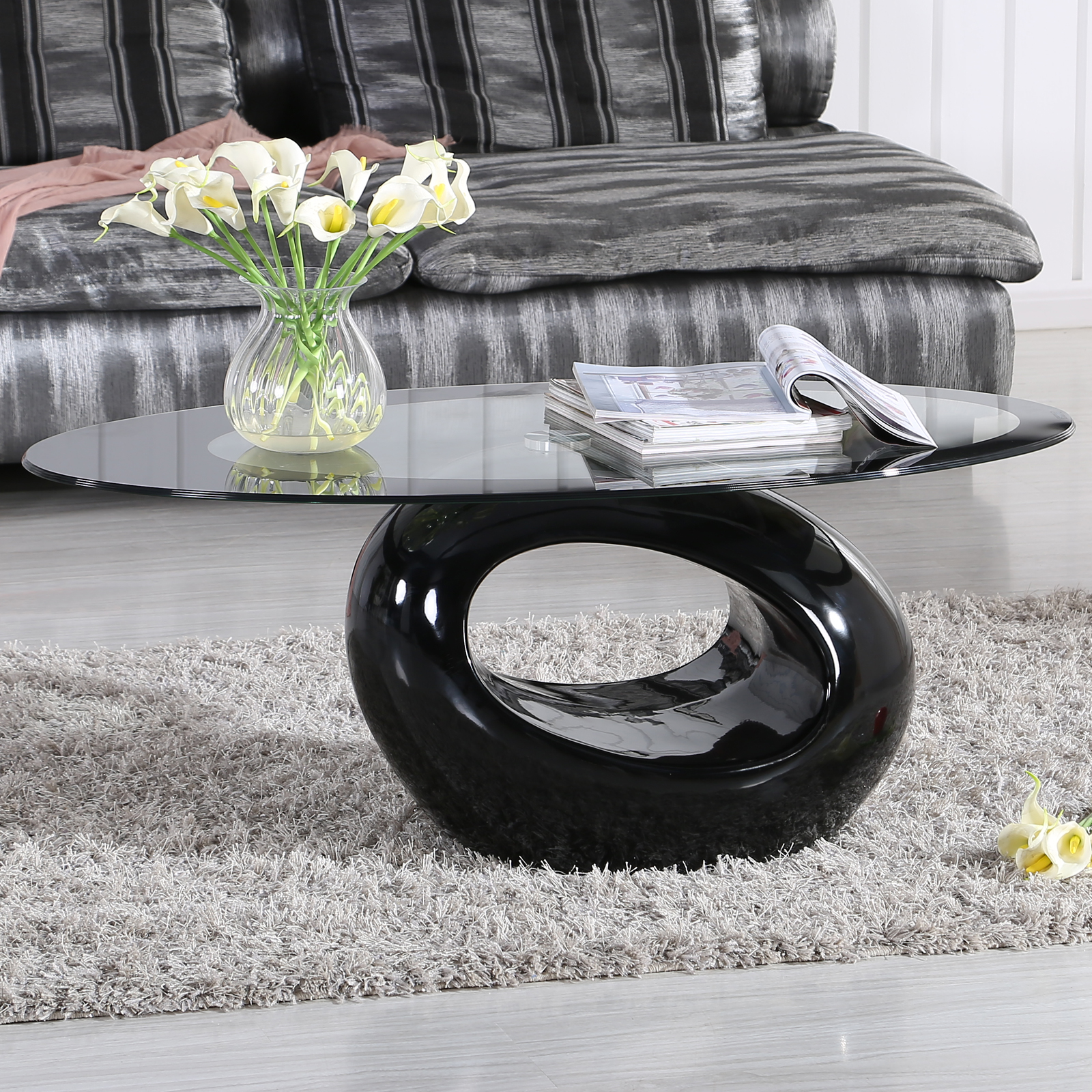 fabulous 1312 tea table living room furniture tempered glass | Oval High Gloss Black Glass Coffee Table Contemporary ...