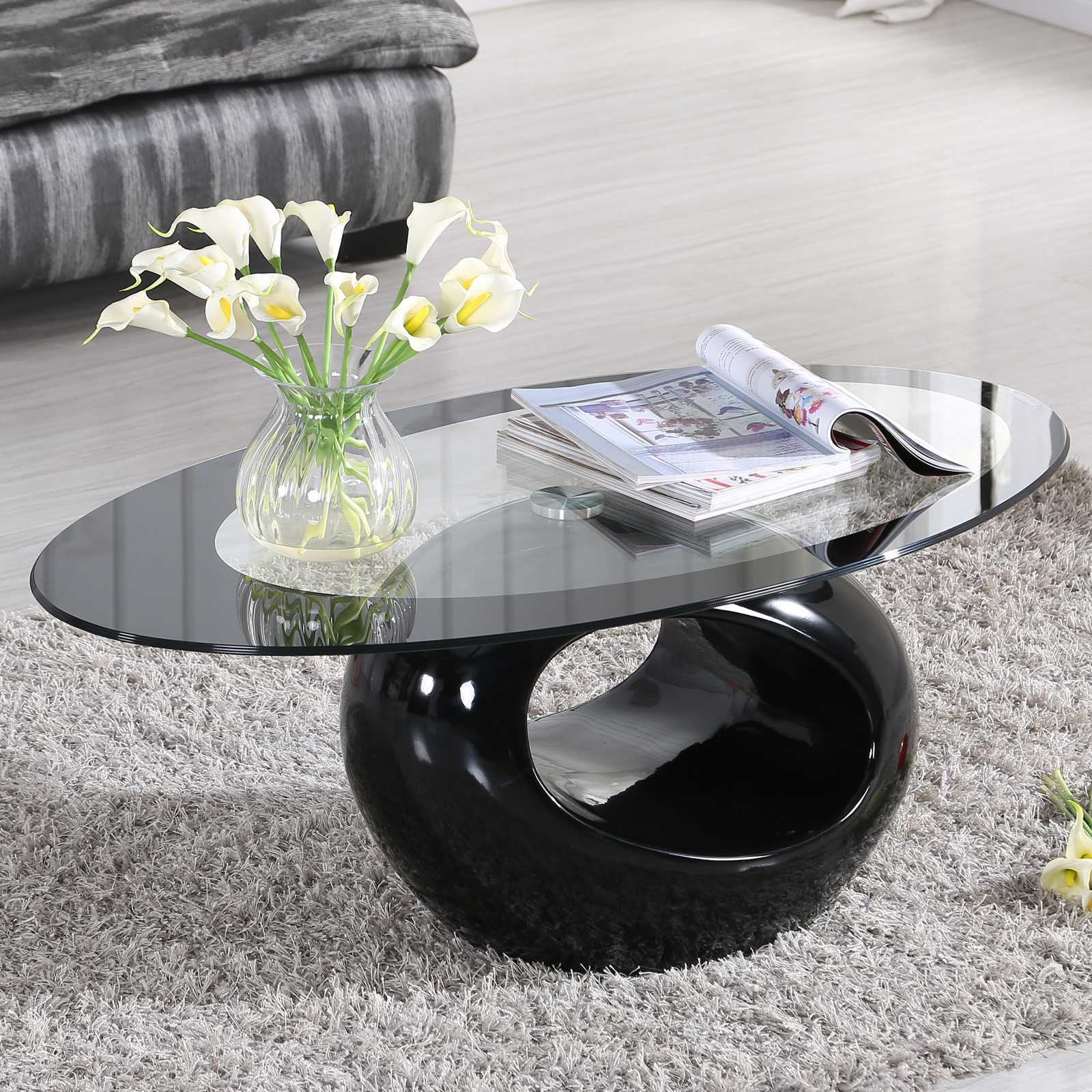 Oval High Gloss Black Glass Coffee Table Contemporary Living Room