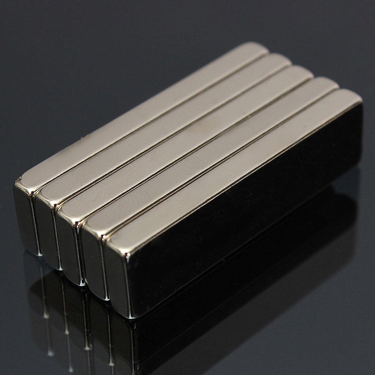 5Pcs 40x10x4mm N52 Strong Block Bar Fridge Rare Earth Neodymium Magnets New Oma