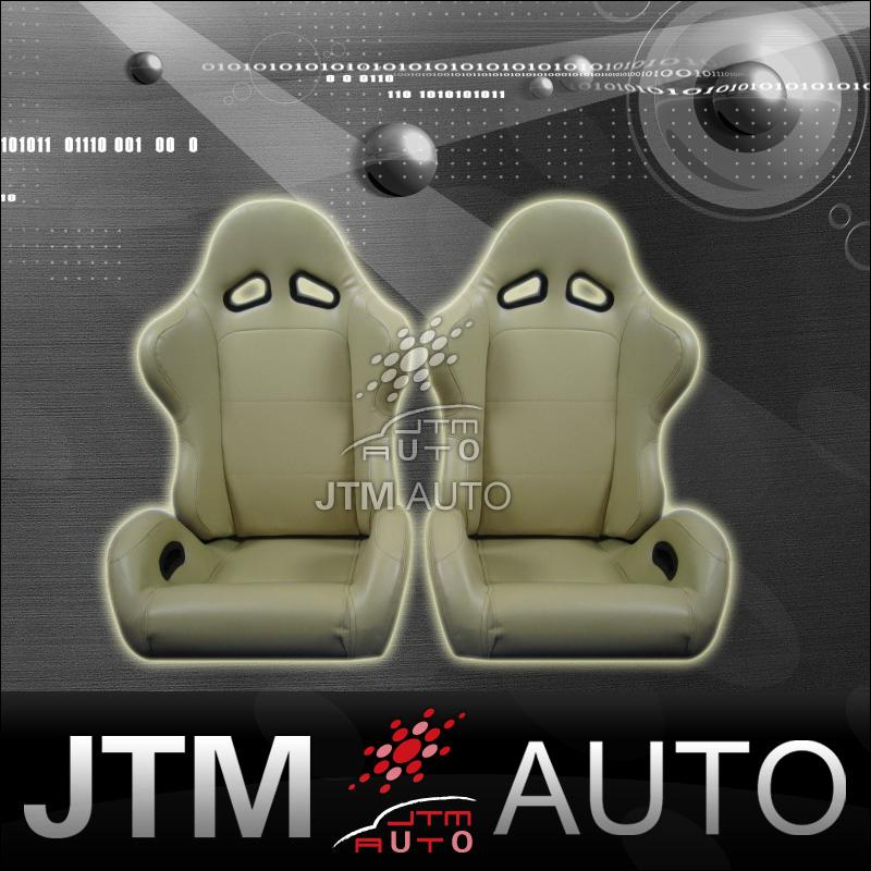 NEW PAIR RECARO STYLE BEIGE TAN PU LEATHER ADJUSTABLE SPORT SEATS FREE SHIPPING