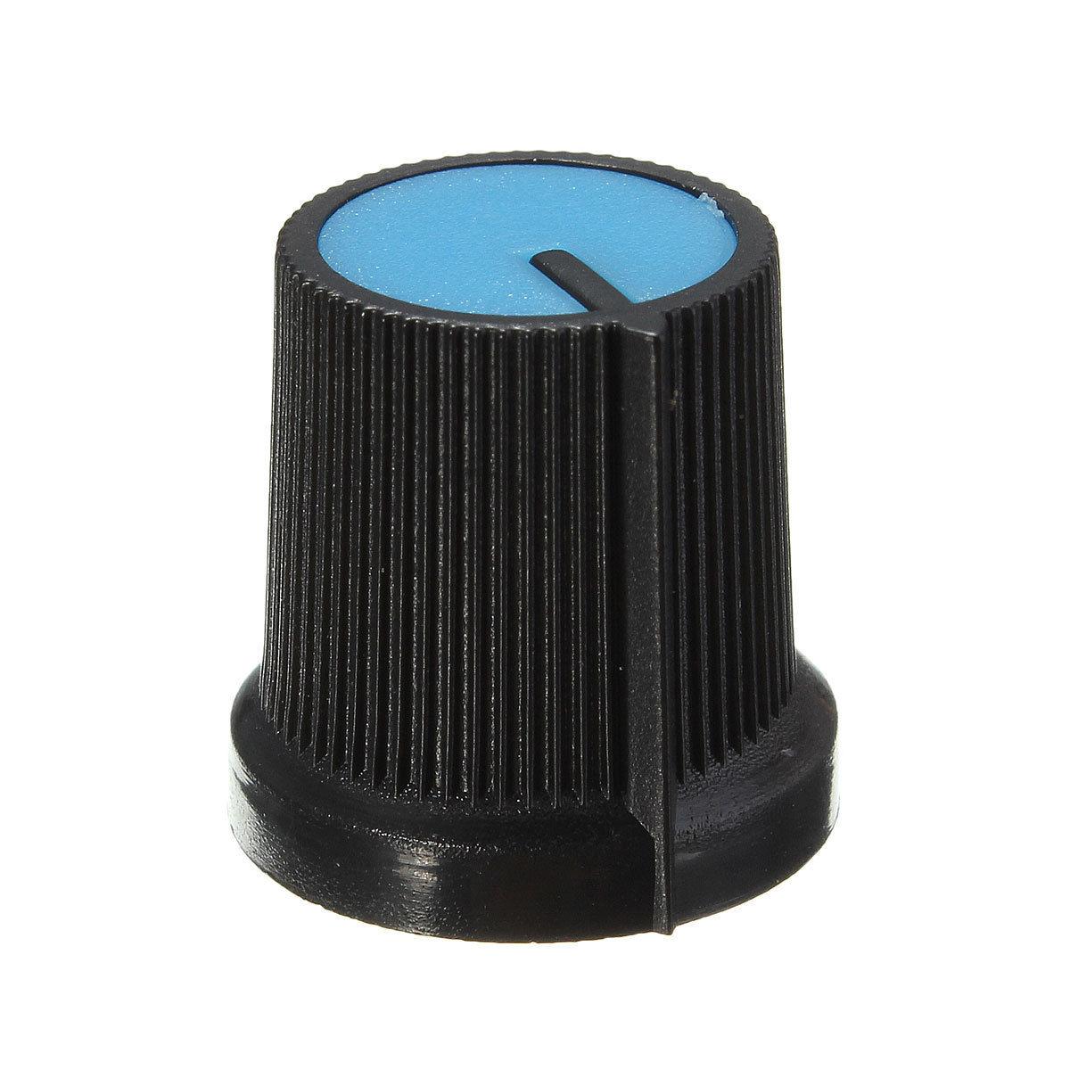 10PCS Black Knob Blue Face Plastic for Rotary Taper Potentiometer Hole 6mm CA