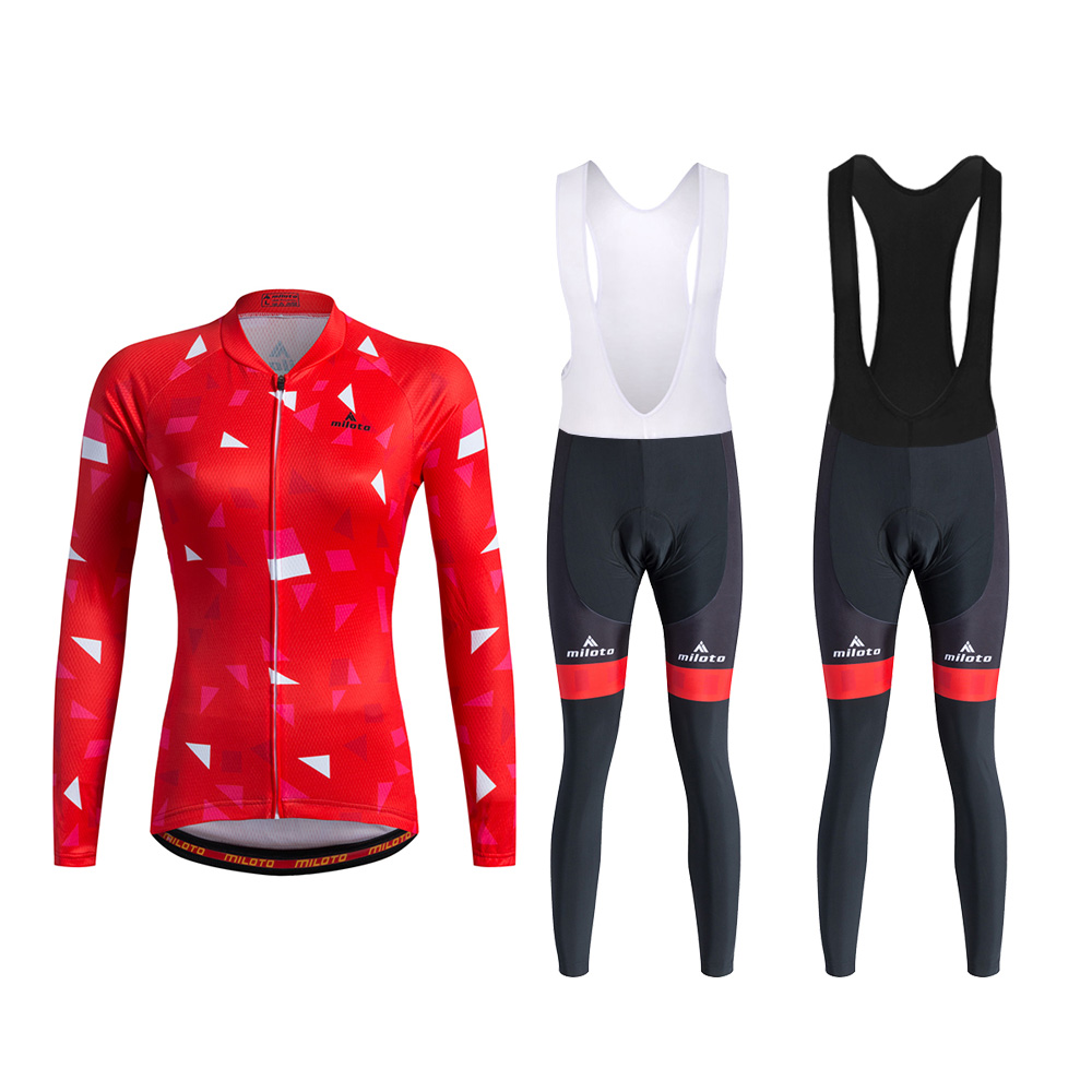 Shorts Kit Reflective Bib Women/'s Bicycle Clothing Set Red Cycling Jersey and