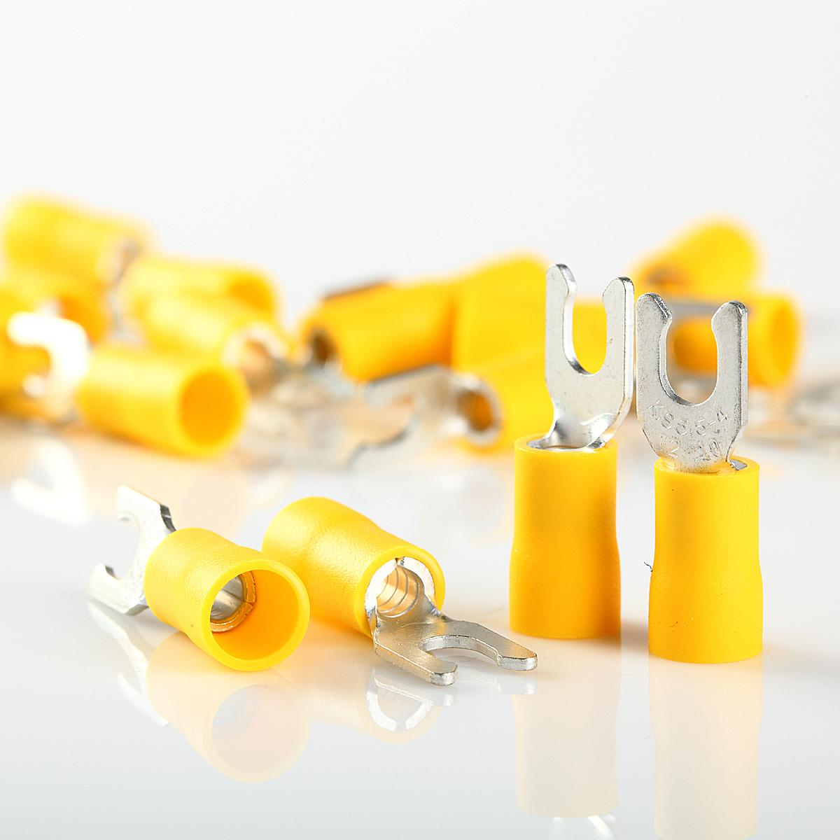 #10 Yellow Vinyl Insulated Fork//Spade Terminal Connectors 12-10 GAUGE