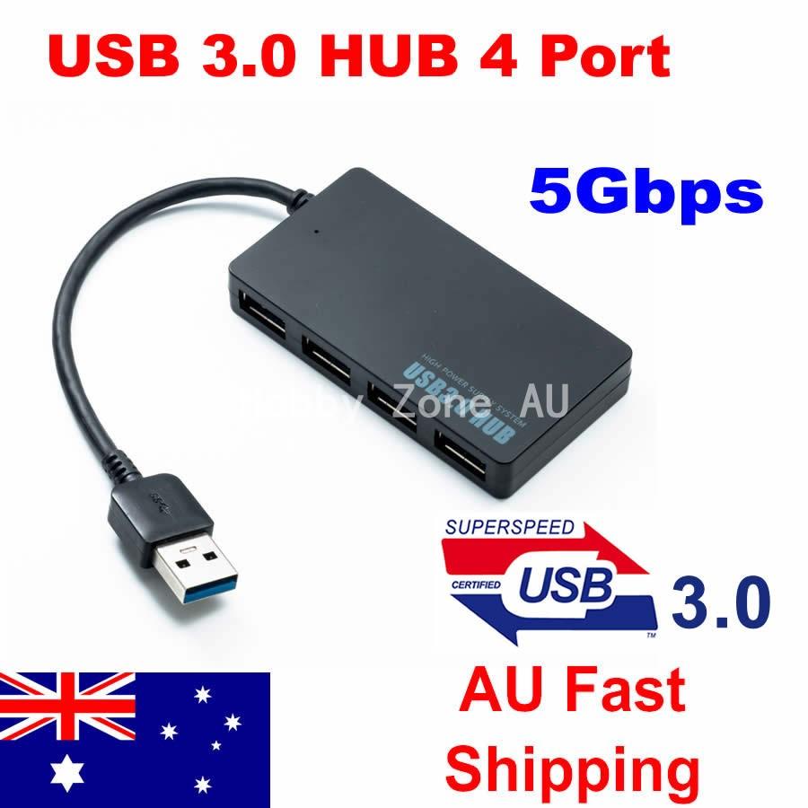 AU Multi USB 3.0 Hub 4 Port High Speed Slim Compact Expansion Smart Splitter NEW