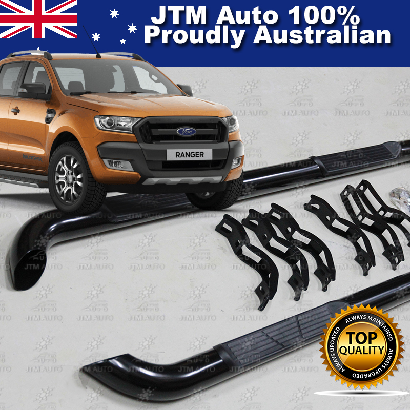 For Ford Ranger T7 PX2 Dual Cab Running Boards Black Steel Side Steps 2015-2019