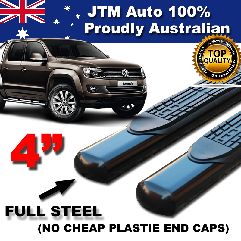 "Suits to Volkswagen VW Amarok 4"" Black Side Steps Running Boards 2010-2018"