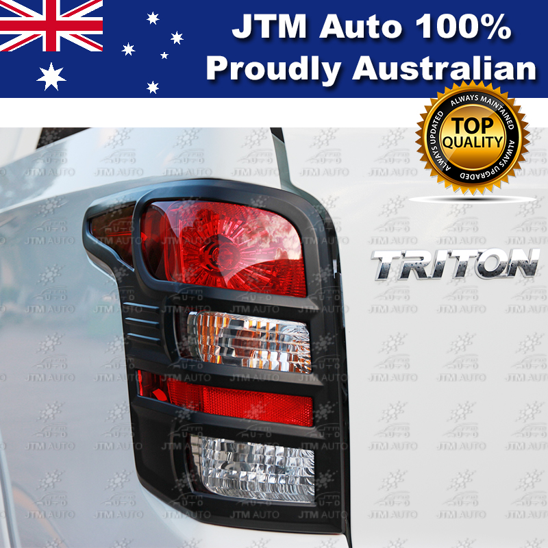 Matt Black Tail Light Cover Trim Suits Mitsubishi Triton MQ 2015-2018