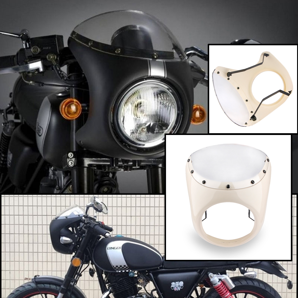 7 motorrad scheinwerfer verkleidung universal lampenmaske. Black Bedroom Furniture Sets. Home Design Ideas