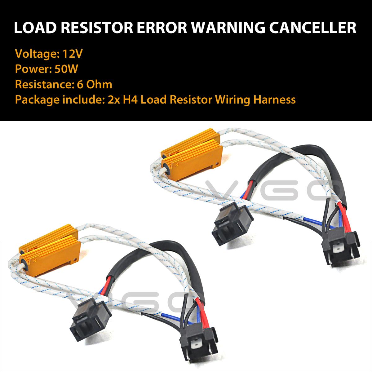 2x H4 Led Headlight Canbus Error Free Anti Flicker Resistor Canceller Decoder wv