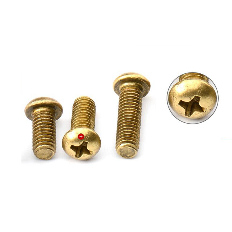 25pcs Metric Thread M6x25mm Brass Cross Recessed Phillips Pan Head Screw Bolt