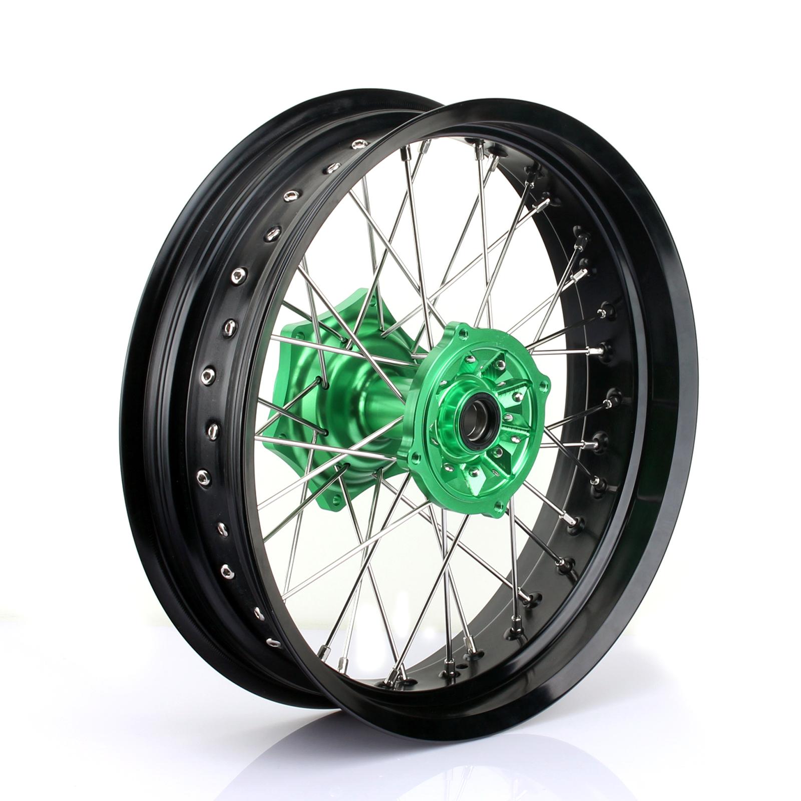 Smadmoto 17 x 4.25 Rear Wheel Kit Black Rim Green Hub for Kawasaki KX125 KX250 2003-2013 KX250F 2004-2019 KX450F 2006-2019 klx450 2007-2013