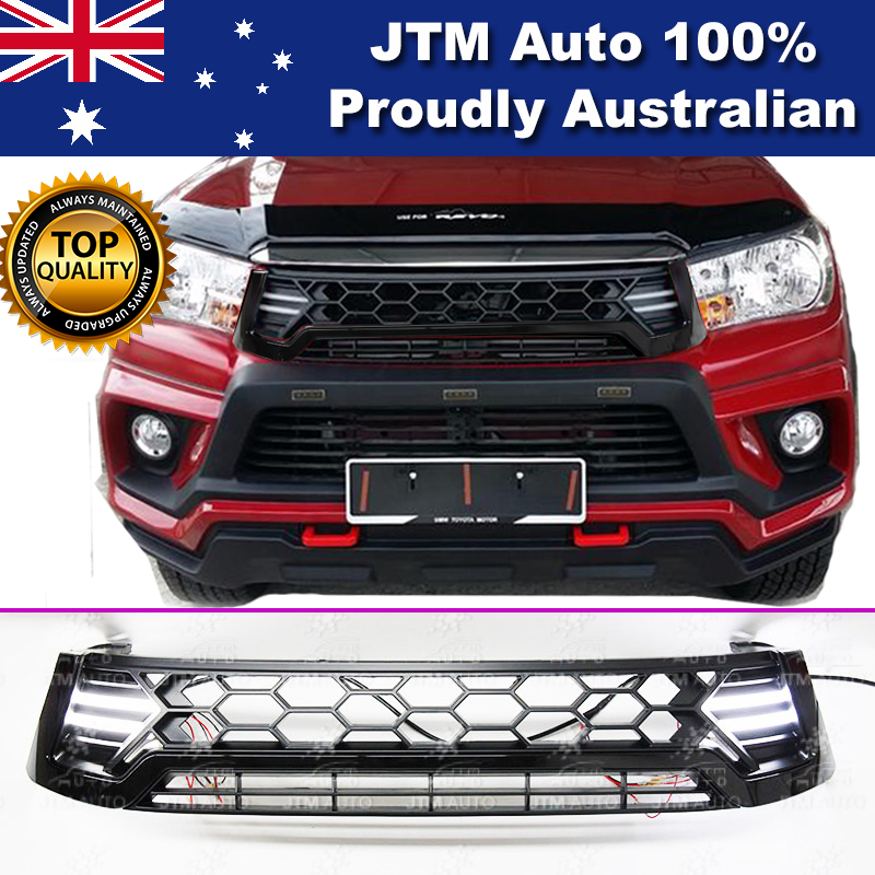 New LED DRL Front Black Grill Grille Suitable For Toyota Hilux 2015- 2018