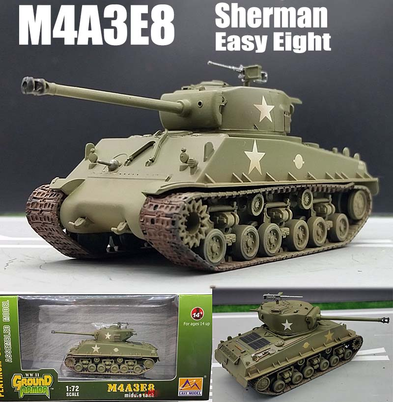WWII US M4A3E8 Sherman Easy Eight 1/72 finished no diecast Easy