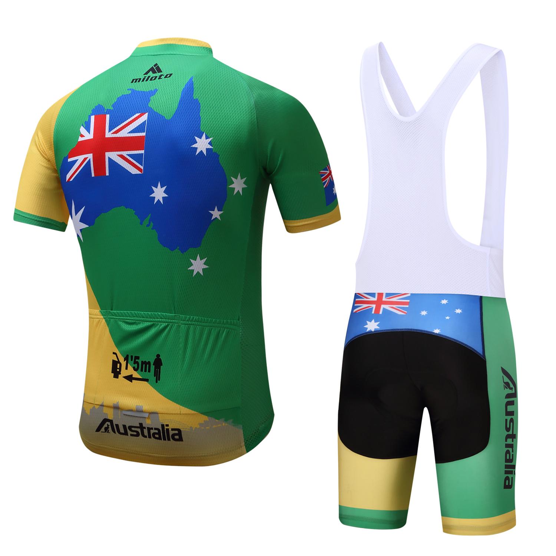 Australia-Cycling-Team-Kit-Men-039-s-Reflective-Cycle-Jersey-Bib-Shorts-Set-S-5XL miniature 16