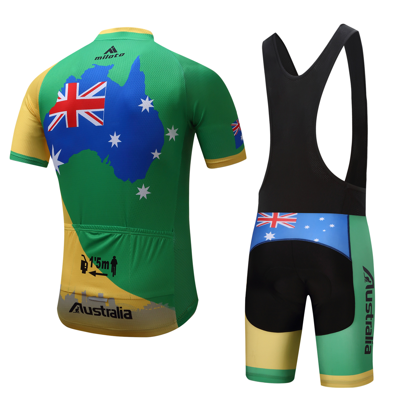Australia-Cycling-Team-Kit-Men-039-s-Reflective-Cycle-Jersey-Bib-Shorts-Set-S-5XL miniature 18