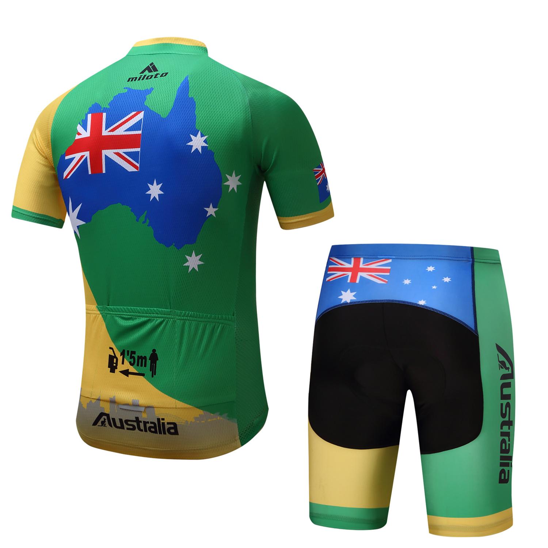 Australia-Cycling-Team-Kit-Men-039-s-Reflective-Cycle-Jersey-Bib-Shorts-Set-S-5XL miniature 14