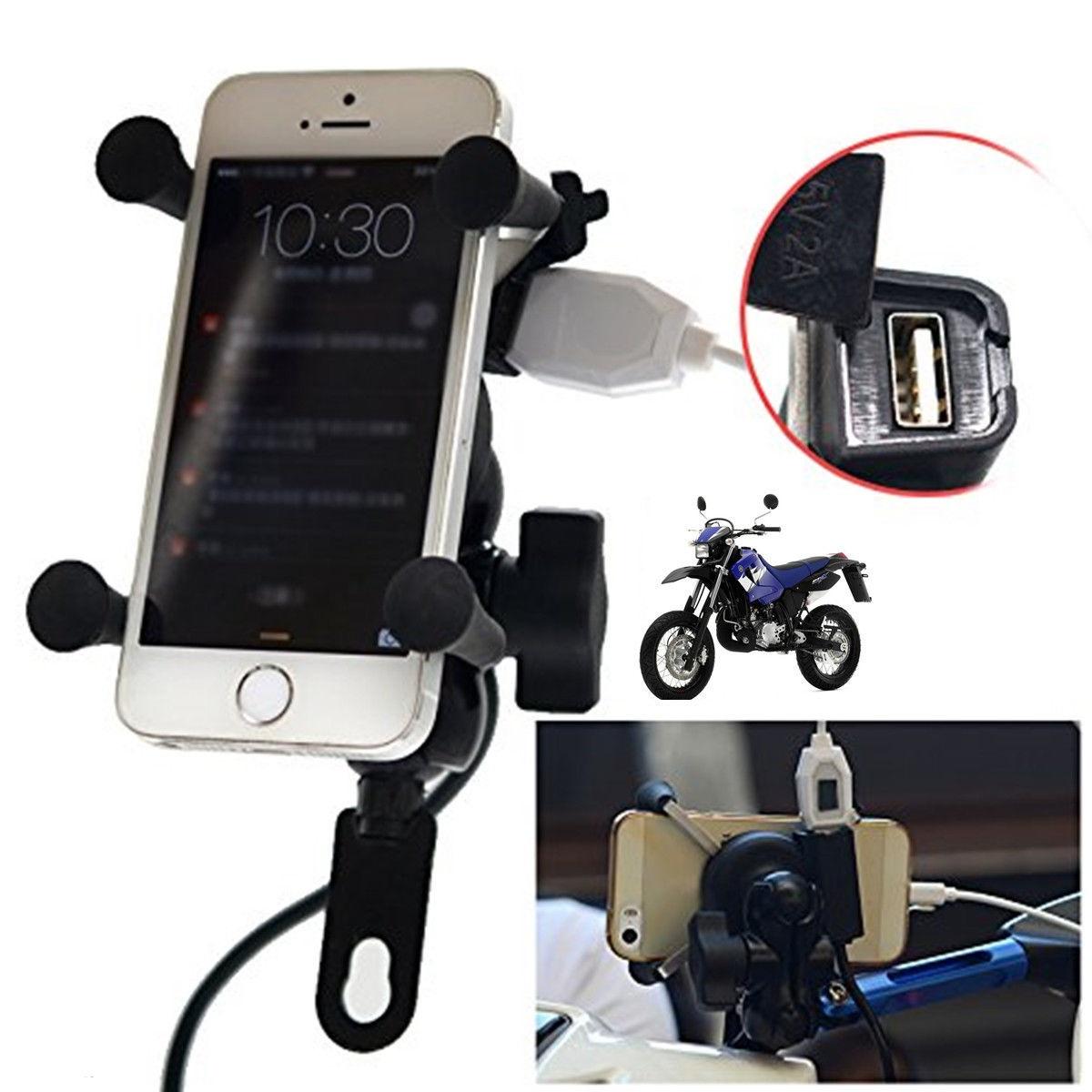 Universal Motorcycle USB Charging Mount Phone GPS Mobile Iphone Cradle Holder
