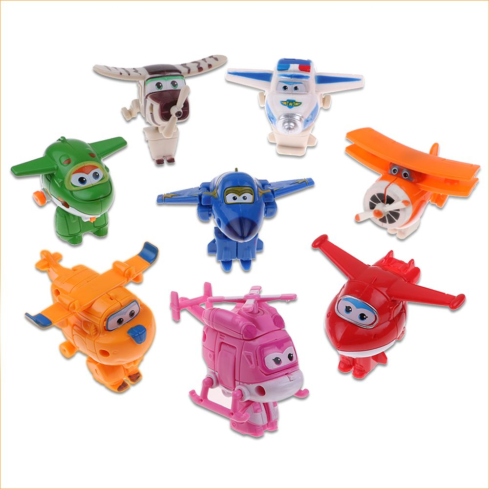4//8//12Pcs Animation Super Wings Transforming Plane Toy Mini figure Cake Topper