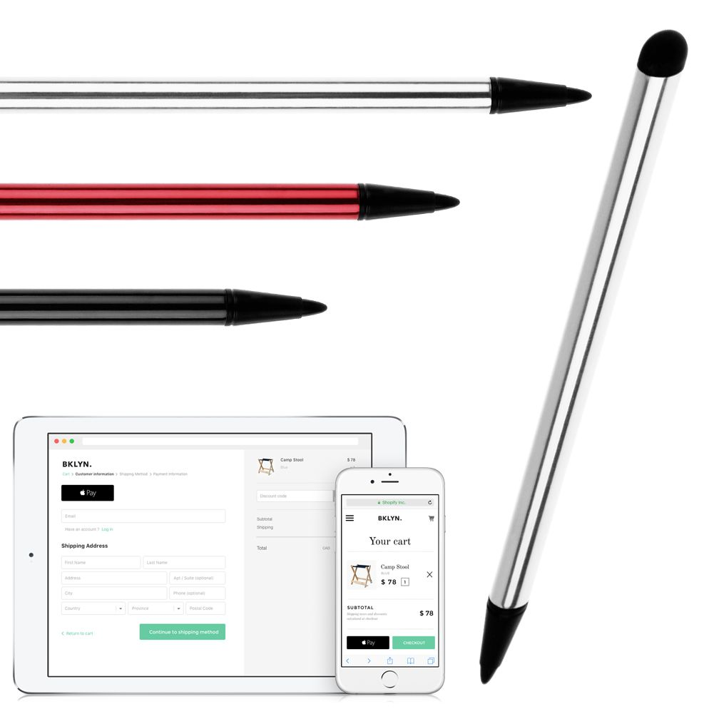 Dual Heads Ends Round Capacitive Touch Screen Stylus Pen for iPad iPhone Samsung