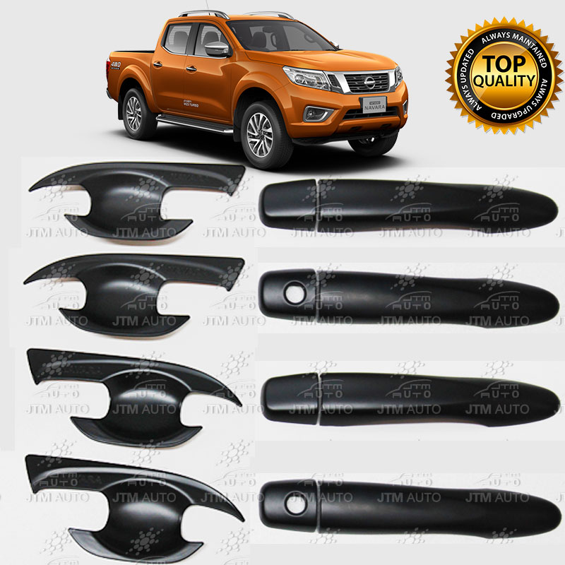 Matt Black Door Handle Bowl Cover Protector tosuit Nissan Navara NP300 2015-2018
