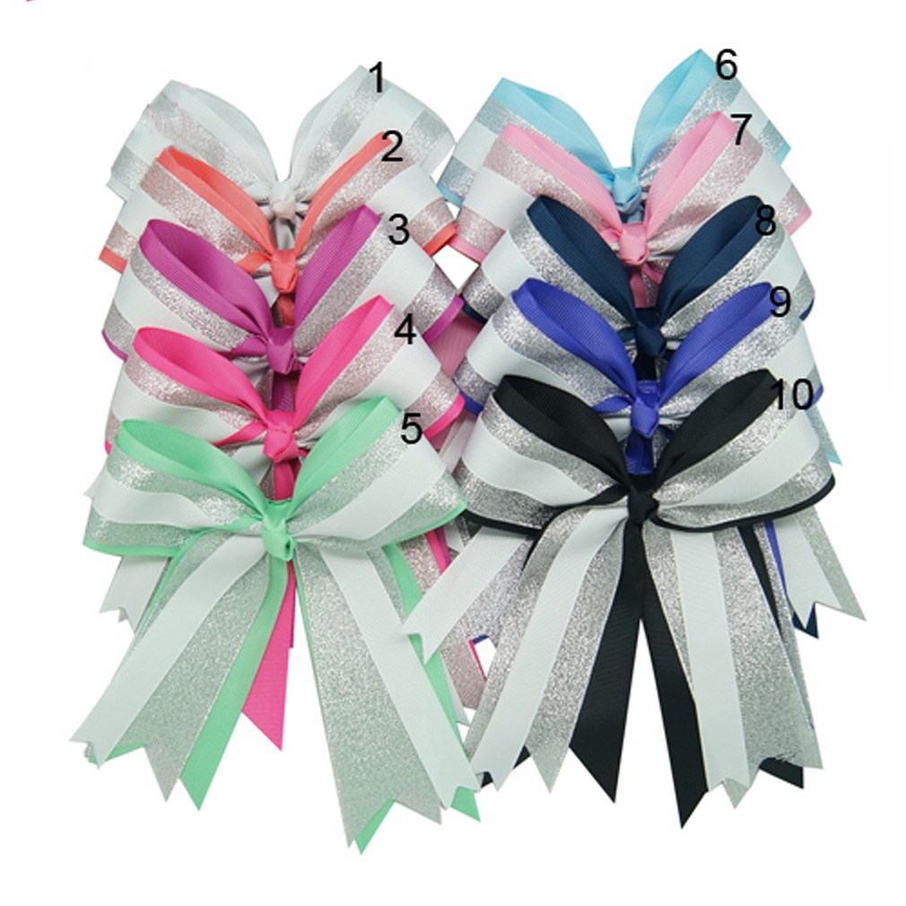 "6/"" Baby Girls Grosgrain Silver Organza Cheer Bow Clip Hair Boutique Accessories"