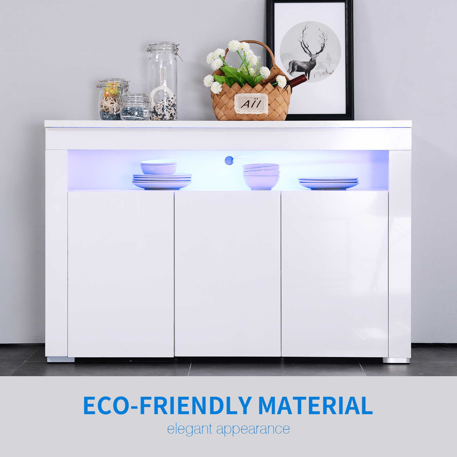 Details about High Gloss White Sideboard Cabinet Cupboard Buffet Storage  Unit with LED Light
