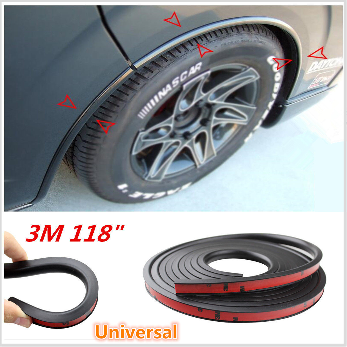118/'/' Black Car Fender Flare Extension Wheel Eyebrow Moulding Trim Protector Lip
