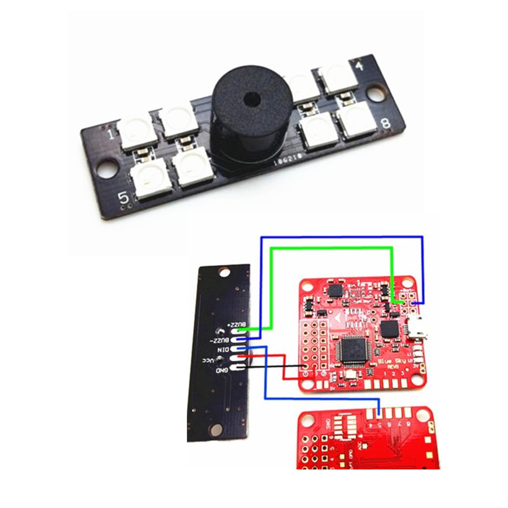 Micro 1.5g RGB LED and Buzzer Indicator for BetaFlight Cleanflight Naze32 F3 F4