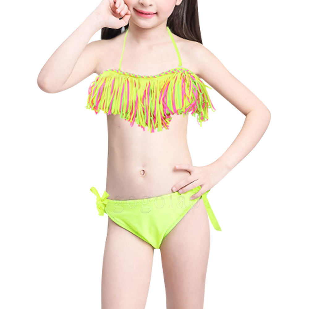 33e18b0ef6e81 Kids Baby 3-12 Year Old Girls 2 Pieces Summer Tassel Nylon Swimsuit Bikini  Set