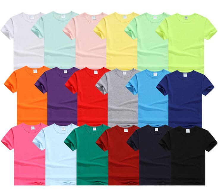 Unisex Comfort Lycra Cotton shirts Round Collar Pure Color Shirt Blanket T-Shirt