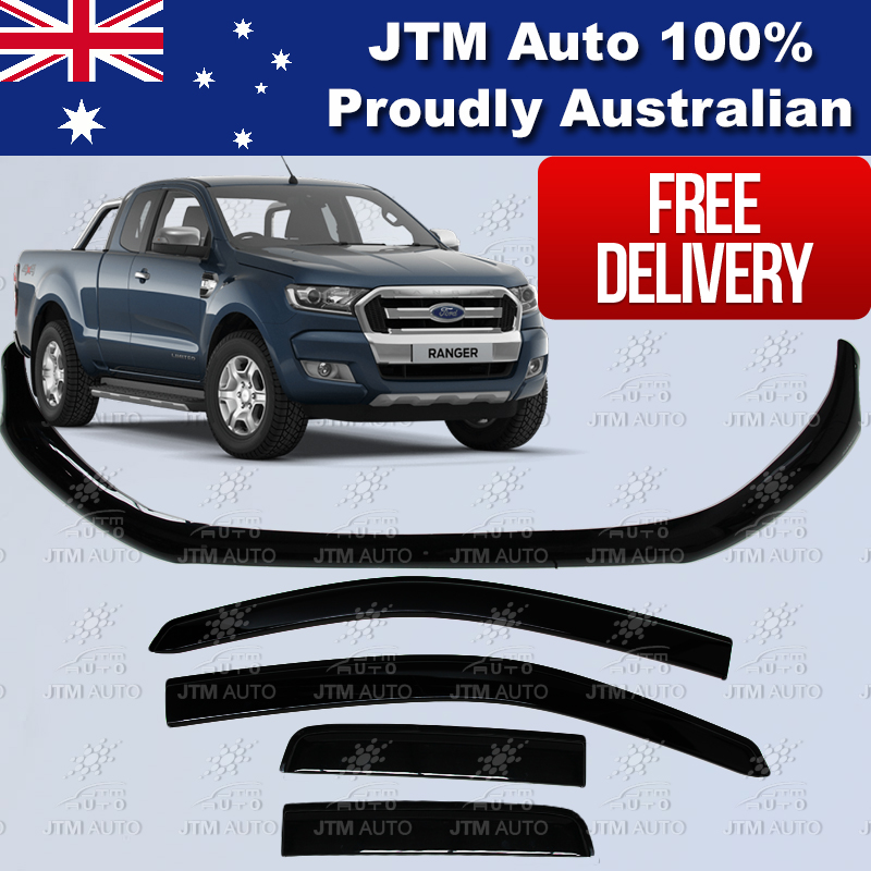 Bonnet Protector + Weather Shields Visor for Ford Ranger PX2 Extra Cab 2015-2018