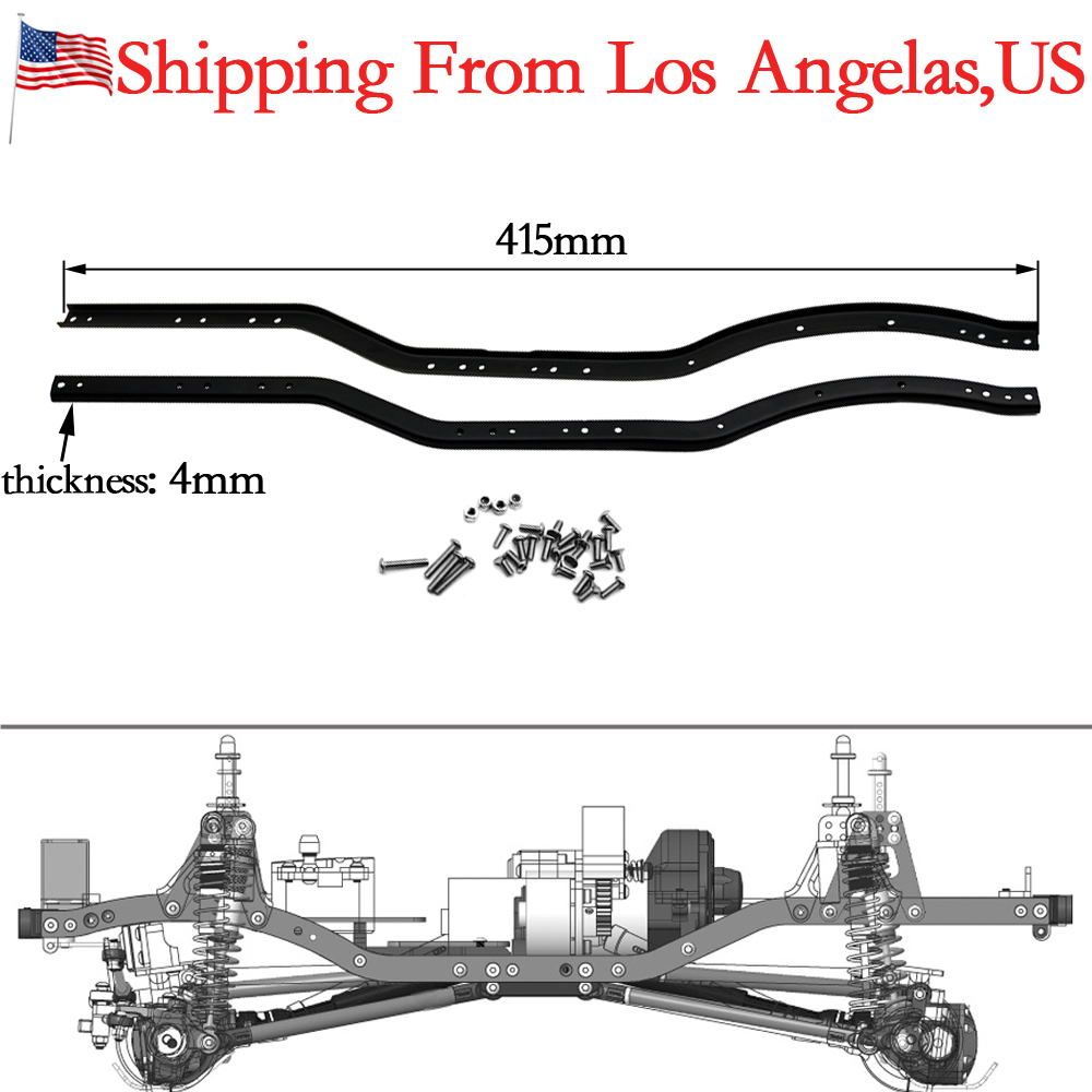 1Pair Stainless Steel Chassis Frame Rails for 1/10 RC Axial SCX10 ...