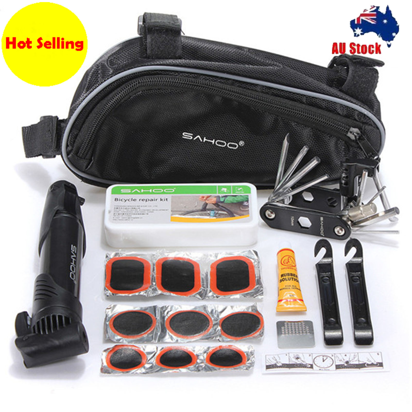 Bike Tire Tyre Repair Tool Set with Bag Cycling Tire Repair Maintenance Tool