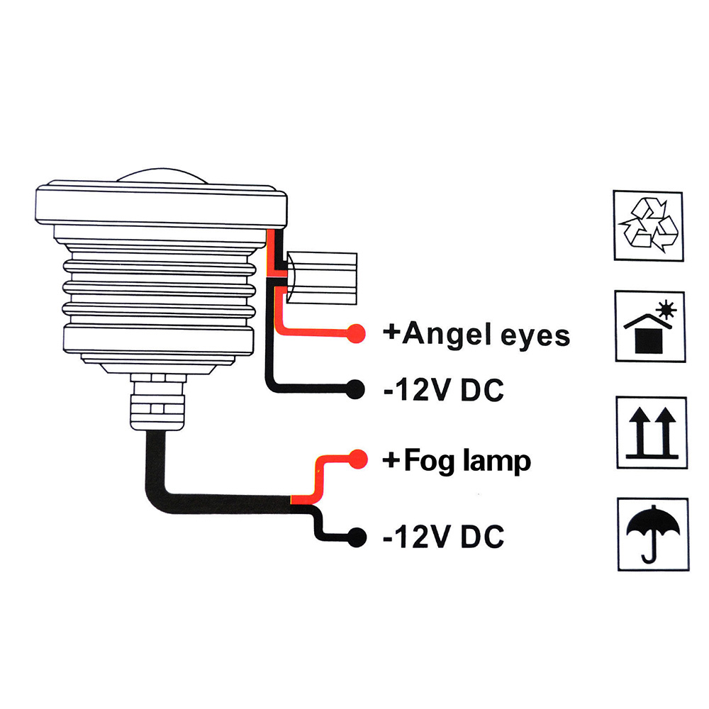 a1 2x 3 5 u0026quot  universal halo angel eyes led fog light projector white waterproof