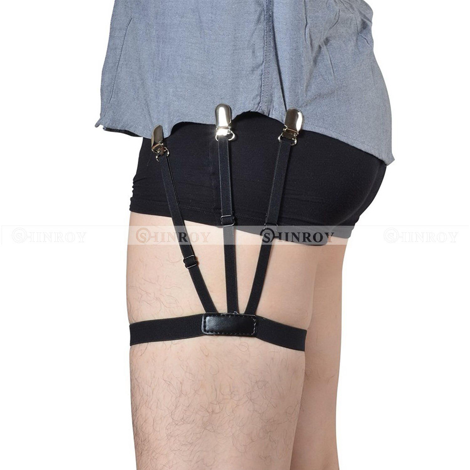 Men Adjustable Elastic Band Shirt Stays Garter Straps Socks Suspenders Belts G