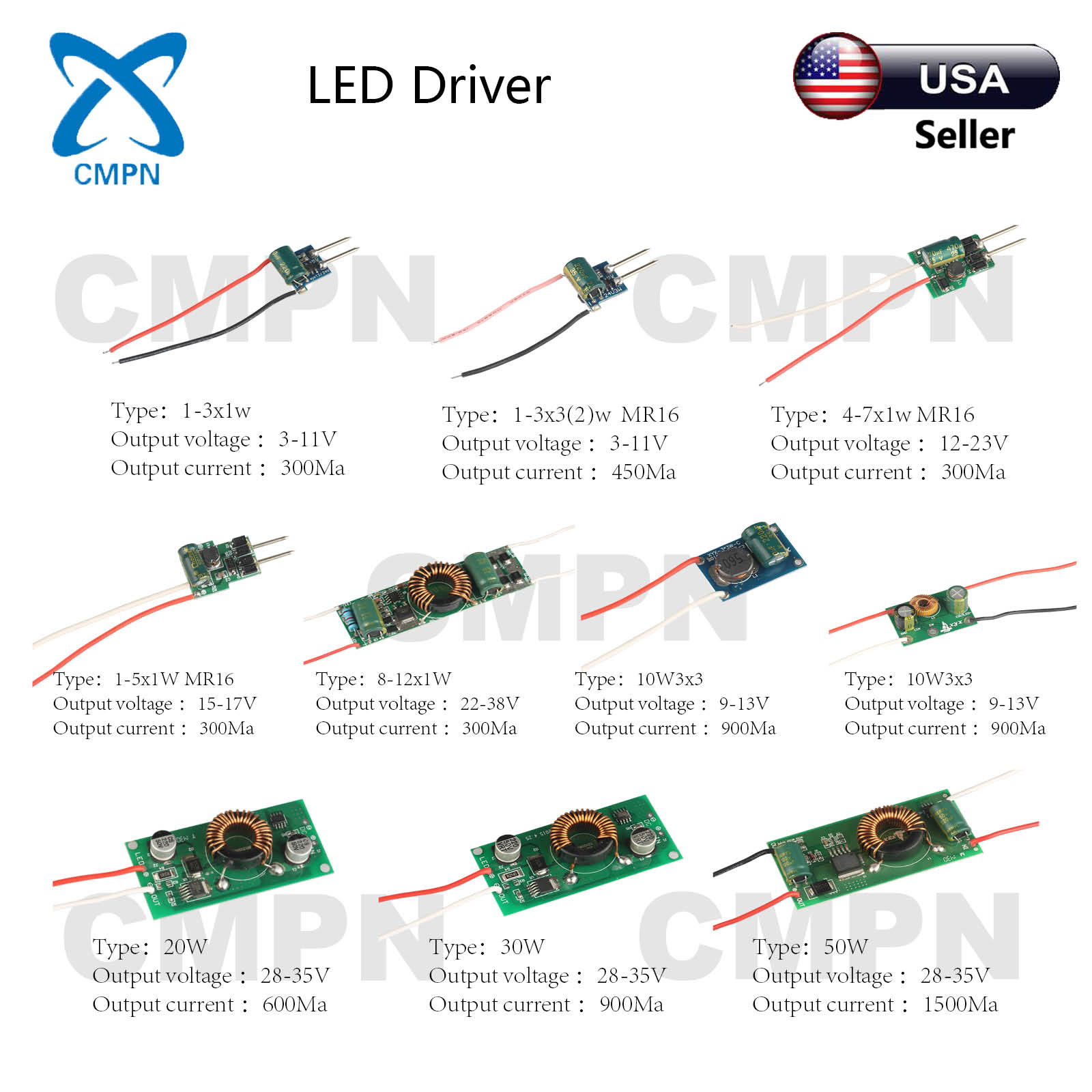 3w 5w 10w 20w 30w 50w high power led driver supply ac 12 24v